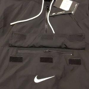 Nike Jackets & Coats - NWT Nike Black Swoosh Woven Anorak (Small-Medium)